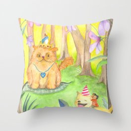 Magical Forest and the King Cat Throw Pillow
