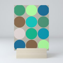 Mid-Century Giant Dots, Jade, Blue and Taupe Mini Art Print