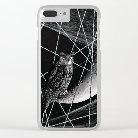 Moon owl Clear iPhone Case