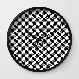 Black and White Checkerboard Checked Squares with French Fleur de Lis Wall Clock