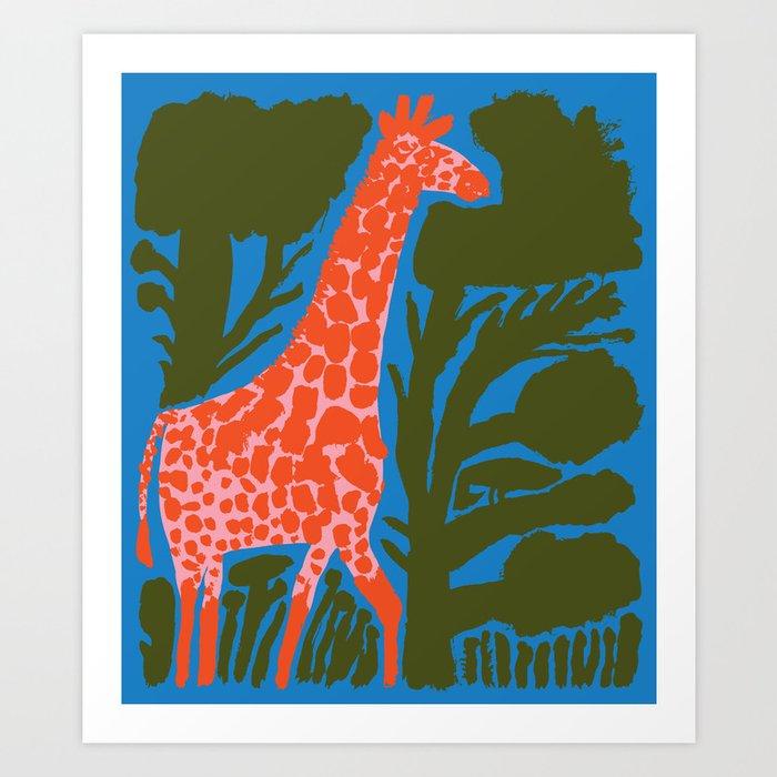 Giraffe between trees Art Print