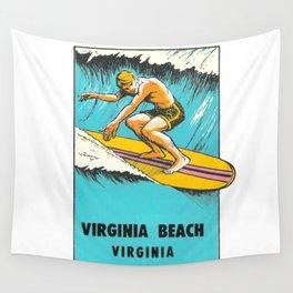Virginia Beach Retro Vintage Surfer Wall Tapestry