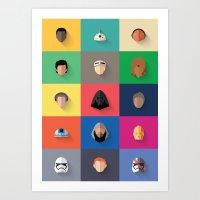 Force Awakens Flat Design Set Art Print