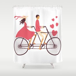 Love Couple riding on the bike Shower Curtain