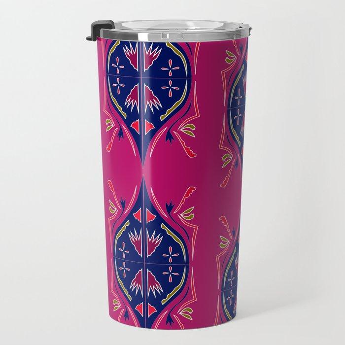 Luxury arabic ornaments blue pink Travel Mug