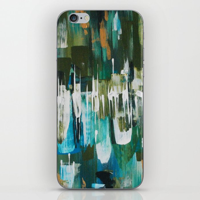 Acrylic Blue, Green and Gold Abstract Painting iPhone Skin