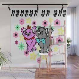 The happy cute couple cats Wall Mural