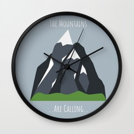 The Mountains are Calling Graphic Wall Clock