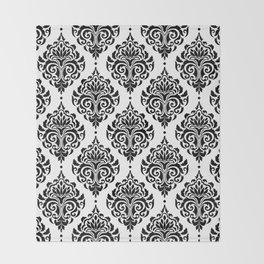 Black and White Damask Throw Blanket