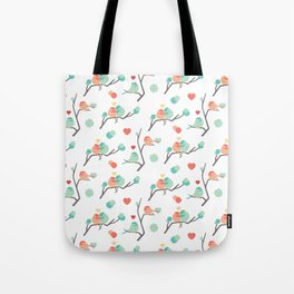 Lovebirds on White Tote Bag