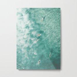 Surfing in the Ocean Metal Print