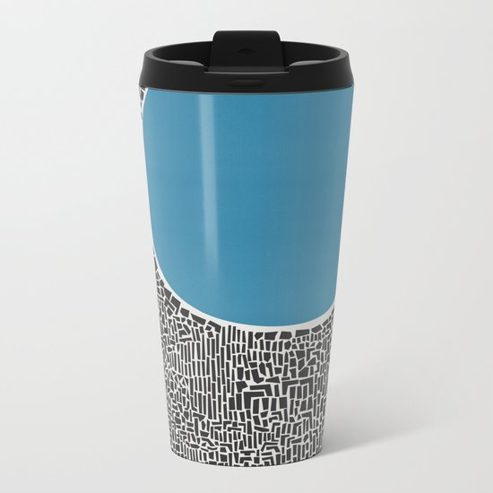 Abstract Blue Lake Metal Travel Mug