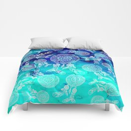 Modern boho white hand drawn dreamcatchers feathers pattern on blue turquoise watercolor Comforters