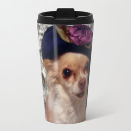 Chi Chi in Purple, Red, Pink, White Flowers, Chihuahua Puppy Dog Travel Mug