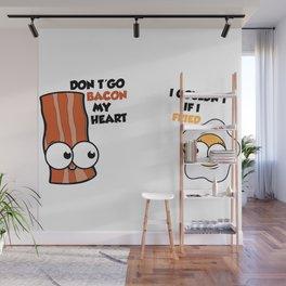 Couples love cute eggs bacon Wall Mural