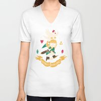 hyrule V-neck T-shirts featuring hyrule airlines brown by Louis Roskosch