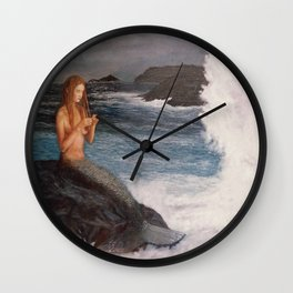 Mermaid doing her hair Wall Clock