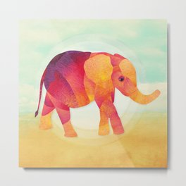 Shanti Sparrow: Martha the Elephant Metal Print