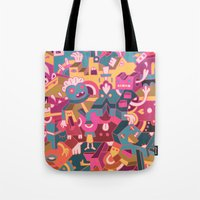 cartoons Tote Bags featuring Dear Clarence by Mister Phil