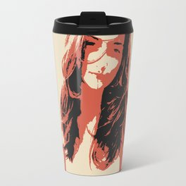 Innocence - minimalist erotic, sexy girl topless, absract nude artwork, beige and red colors Travel Mug