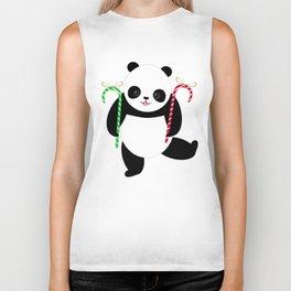 Candy Cane Panda Biker Tank