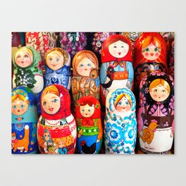 Culture. Group of matrioska, or babushka, symbol of maternity from Russia. Canvas Print