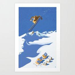 Retro Sky Skier Art Print