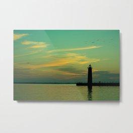 Fading Blue Twilight Lake Michigan Lighthouse Muskegon Beach Metal Print