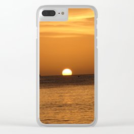 Sunset with boats Clear iPhone Case