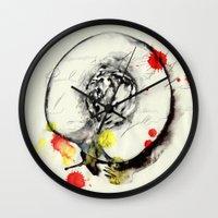 peach Wall Clocks featuring Peach by Mitja Bokun