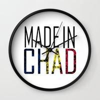 chad wys Wall Clocks featuring Made In Chad by VirgoSpice
