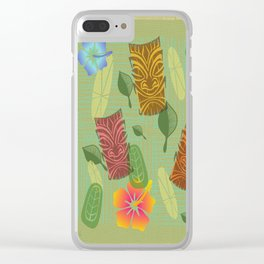 Bamboo Tiki Room Pattern Clear iPhone Case