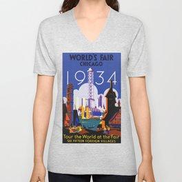 1934 Chicago World's Fair Travel Poster Unisex V-Neck