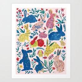Colorful Rabbits Art Print
