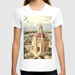 An aerial shot of the Parish Church of Saint Catherine, Zejtun Malta T-shirt