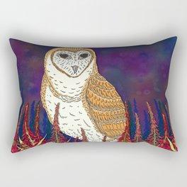 Barn Owl and Fireweed Rectangular Pillow