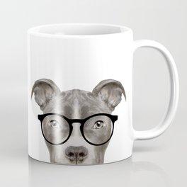 Pit bull with glasses Dog illustration original painting print Coffee Mug