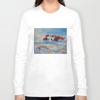 superhero Long Sleeve T-shirts featuring Panda Superhero by Michael Creese