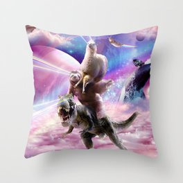 Laser Eyes Space Llama On Sloth Dinosaur - Rainbow Throw Pillow