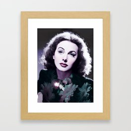 Hedy Lamarr, ca 1942, beauty icon and inventor Infrared art by Ahmet Asar Framed Art Print