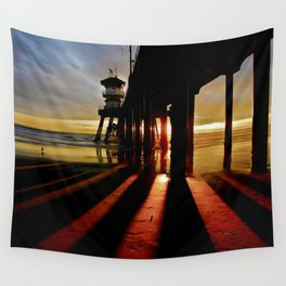 Surf City Sunsets ~ Dark Shadows HB Pier 1 Wall Tapestry