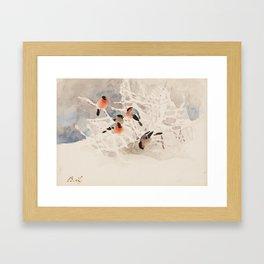 BRUNO LILJEFORS, BULLFINCHES IN A WINTER LANDSCAPE. Framed Art Print
