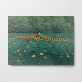 Vintage Japanese Woodblock Print Kawase Hasui Japanese Children Lotus Flowers Garden Wooden Bridge Metal Print
