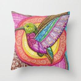 Stitched Hummingbird Throw Pillow