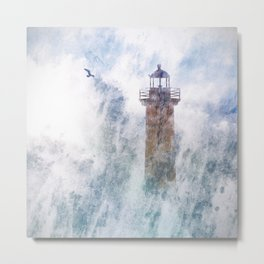Storm in the lighthouse Metal Print