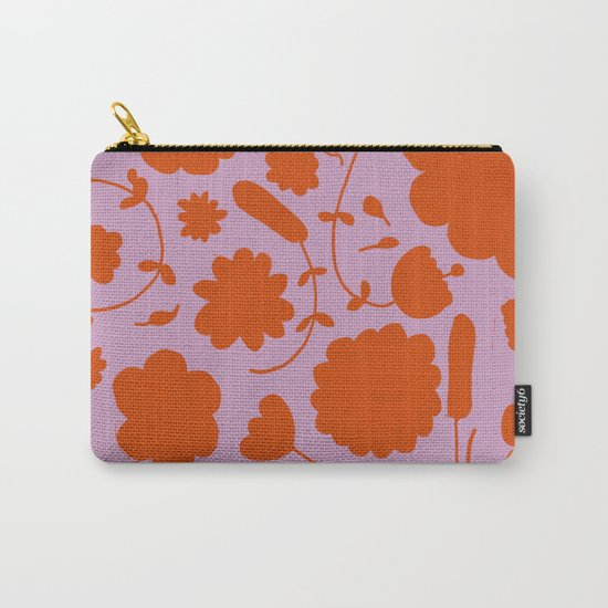 floral pink and orange Carry-All Pouch