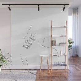 Minimal line drawing of woman's back and hand - Alice Wall Mural