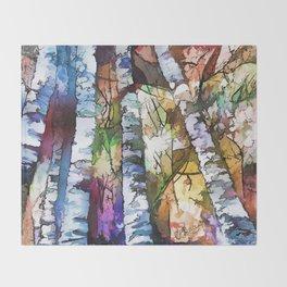 White Aspen an Birch Trees Throw Blanket