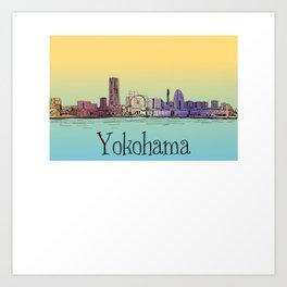 Yokohama Japan cityscape skyline lanscape Art Print