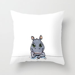 Cute Critters - Baby Hippo Throw Pillow